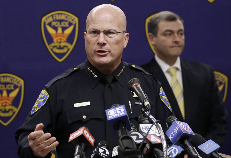 San Francisco Police Chief Greg Suhr speaks at a news conference in San Francisco, Thursday, Sept. 26, 2013. Police arrested two people in the fatal stabbing of a Los Angeles Dodgers baseball fan during a fight near San Francisco's AT&T Park after the Giants' 6-4 win over the Dodgers, Suhr said. (AP Photo/Jeff Chiu)