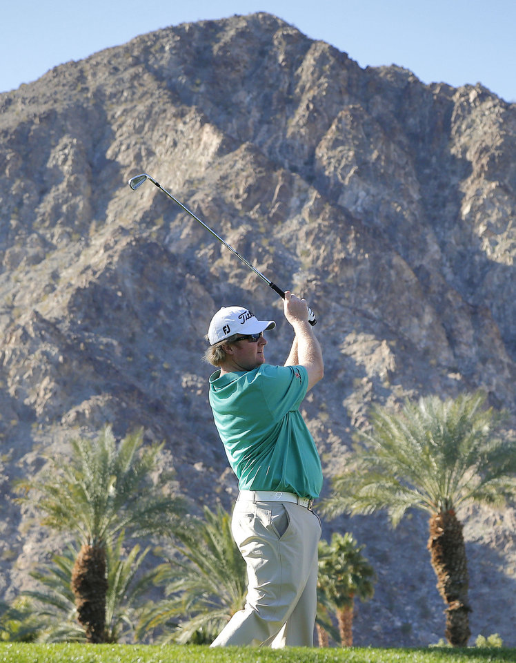 Photo - Brad Fritsch hits from the fifth tee during the first round of the Humana Challenge PGA golf tournament on the Palmer Private course at PGA West, Thursday, Jan. 16, 2014, in La Quinta, Calif.  (AP Photo/Matt York)
