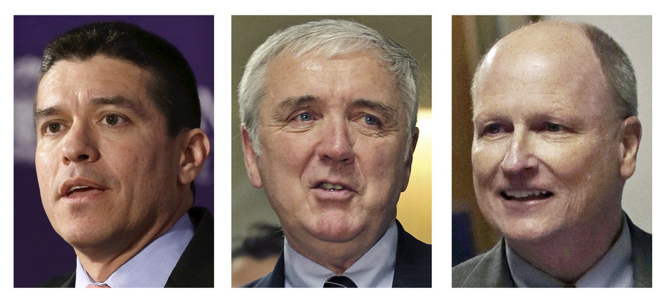 This panel of March 2013 file photos show Republican candidates for U.S. Senate, from left, Gabriel Gomez, Michael Sullivan, and Daniel WInslow, vying for their party's nomination in the special April 30, 2013 primary. (AP Photos)