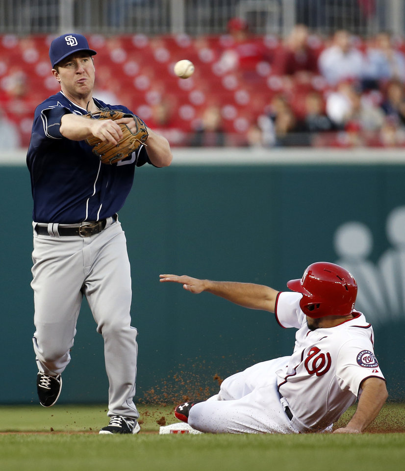 Photo - San Diego Padres second baseman Jedd Gyorko, left, throws to first after getting the out at second on Washington Nationals' Anthony Rendon, right, during the first inning of a baseball game at Nationals Park, Thursday, April 24, 2014, in Washington. (AP Photo/Alex Brandon)