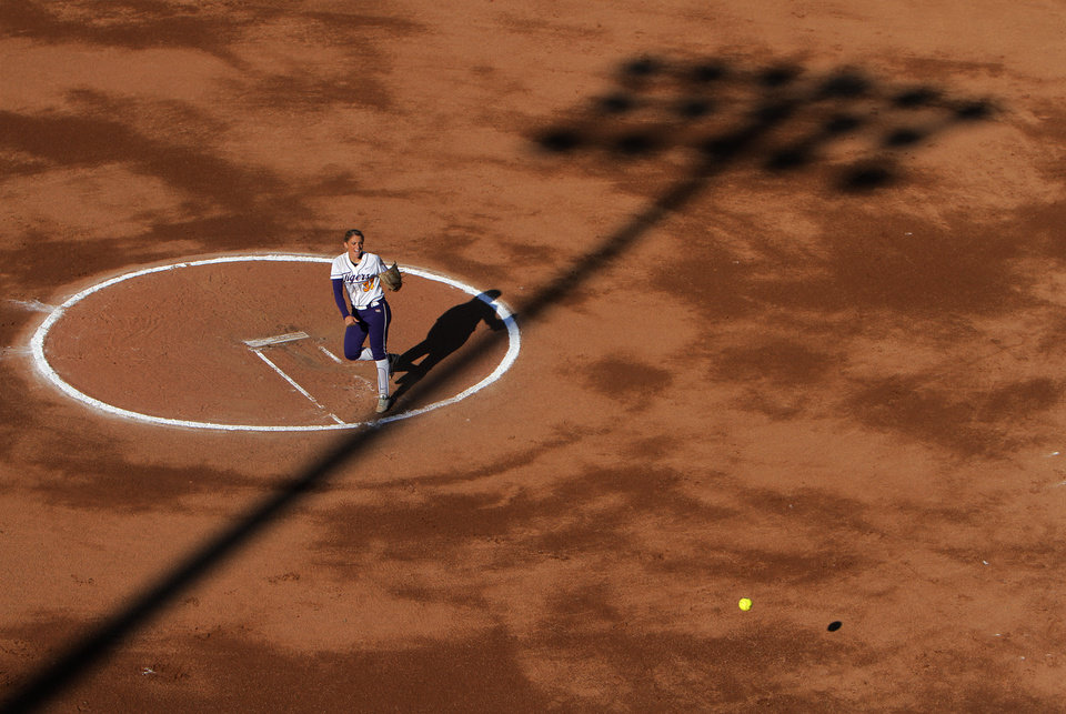 LSU's Rachele Fico (37) pitches during a Women's College World Series game between Arizona State and LSU at ASA Hall of Fame Stadium in Oklahoma City, Saturday, June 2, 2012. Photo by Garett Fisbeck, The Oklahoman