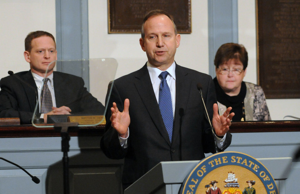 Delaware Gov. Jack Markell delivers his state of the state speech before a joint session of the General Assembly Thursday, Jan. 17, 2013 in Dover, Del. (AP Photo/The News Journal, Gary Emeigh)