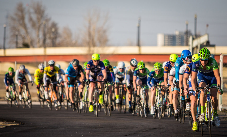 Photo -  Wheeler Crit, a weekly bike race and food truck festival, is hosted by DNA Racing at the former Downtown Airpark, 1701 S Western Avenue, every Tuesday at 5:30 p.m. through Sept. 9. Developer Blair Humphreys envisions the bike festival being permanently incorporated in the Wheeler District planned for the 130 acres at Western Avenue and the Oklahoma River. Photo provided    Provided