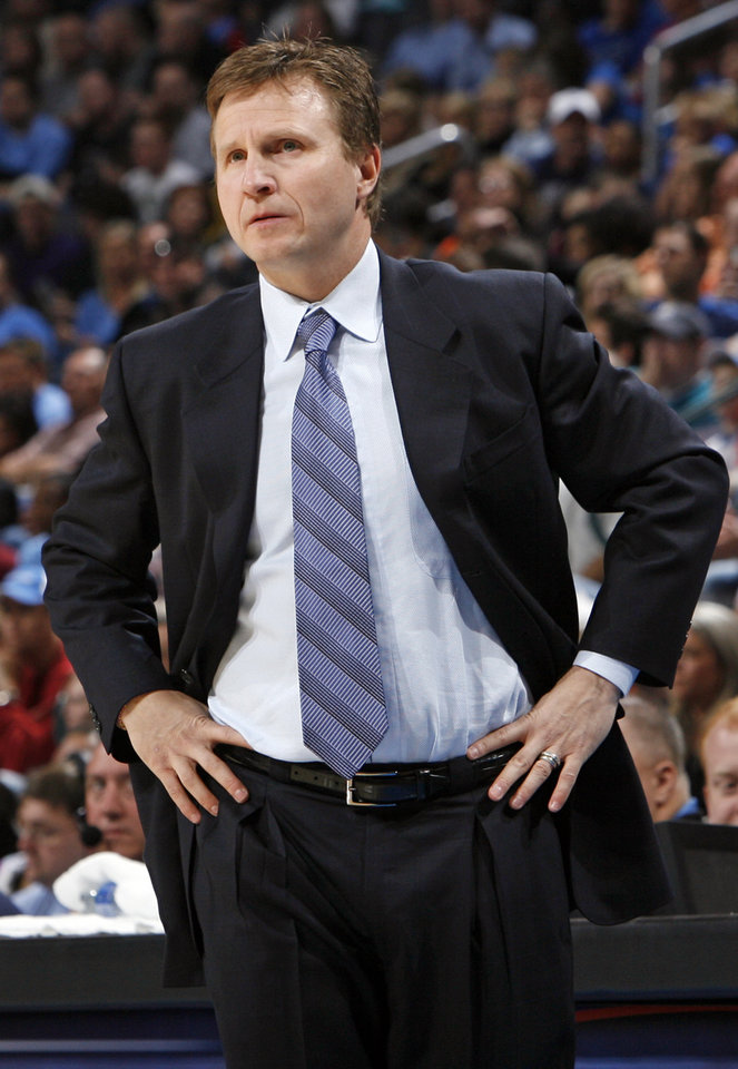 Photo - Oklahoma City head coach Scott Brooks watches his team in the first half of the NBA basketball game between the Charlotte Bobcats and the Oklahoma City Thunder at the Ford Center in Oklahoma City, Friday, April 10, 2009. Photo by Nate Billings, The Oklahoman ORG XMIT: KOD