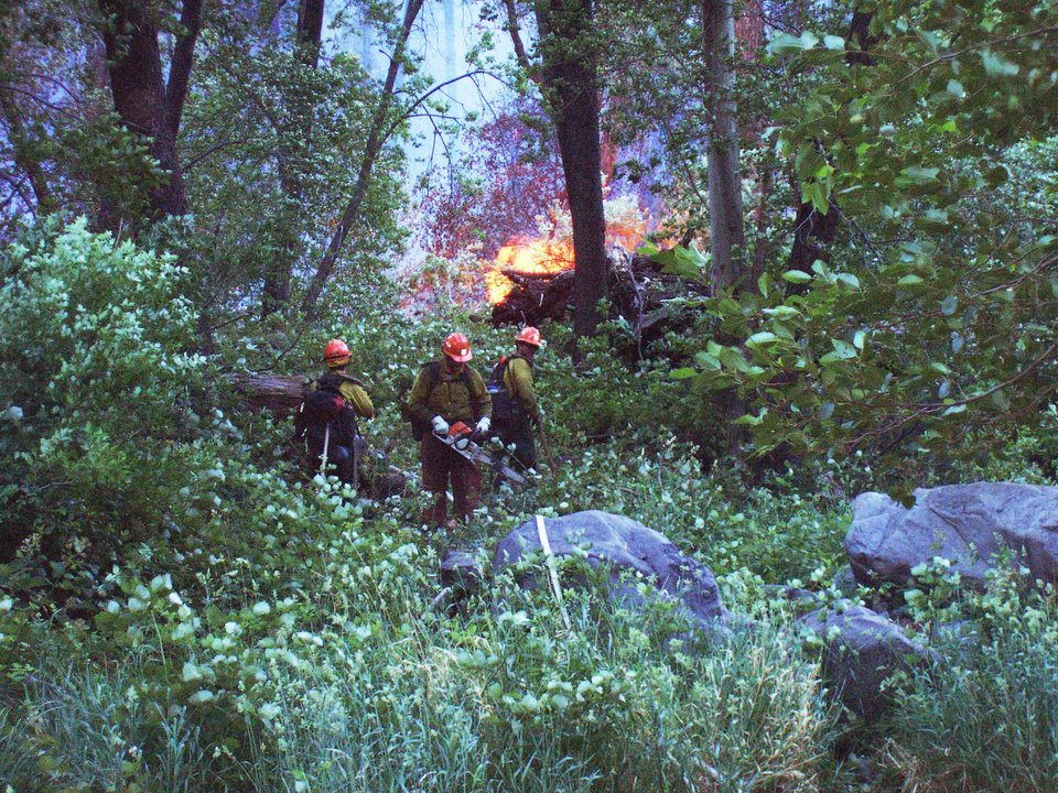 Photo - This photo provided by the Sedona Fire District shows firefighters working near a wildfire that broke out Monday, June 16, 2014, in northern Arizona's scenic Oak Creek Canyon just north of a blaze that charred 31 square miles last month. The so-called Junipine Fire was believed to have been sparked by a downed power line, authorities said. (AP Photo/Sedona Fire District)
