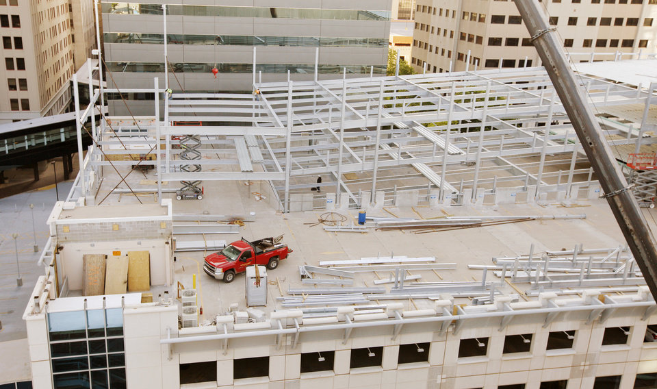 Photo -  Steel beams are going up on an expansion to the City Center parking garage at Park and Harvey Avenues. More than 1,600 spaces are being added to alleviate a parking shortage downtown.  Photo by Paul B. Southerland, The Oklahoman   PAUL B. SOUTHERLAND -  PAUL B. SOUTHERLAND