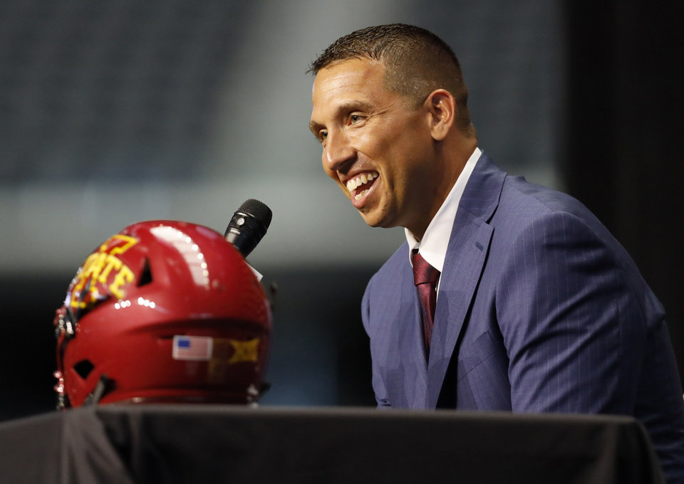 Photo - Iowa State head coach Matt Campbell speaks during Big 12 Conference NCAA college football media day Tuesday, July 16, 2019, at AT&T Stadium in Arlington, Texas. (AP Photo/David Kent)