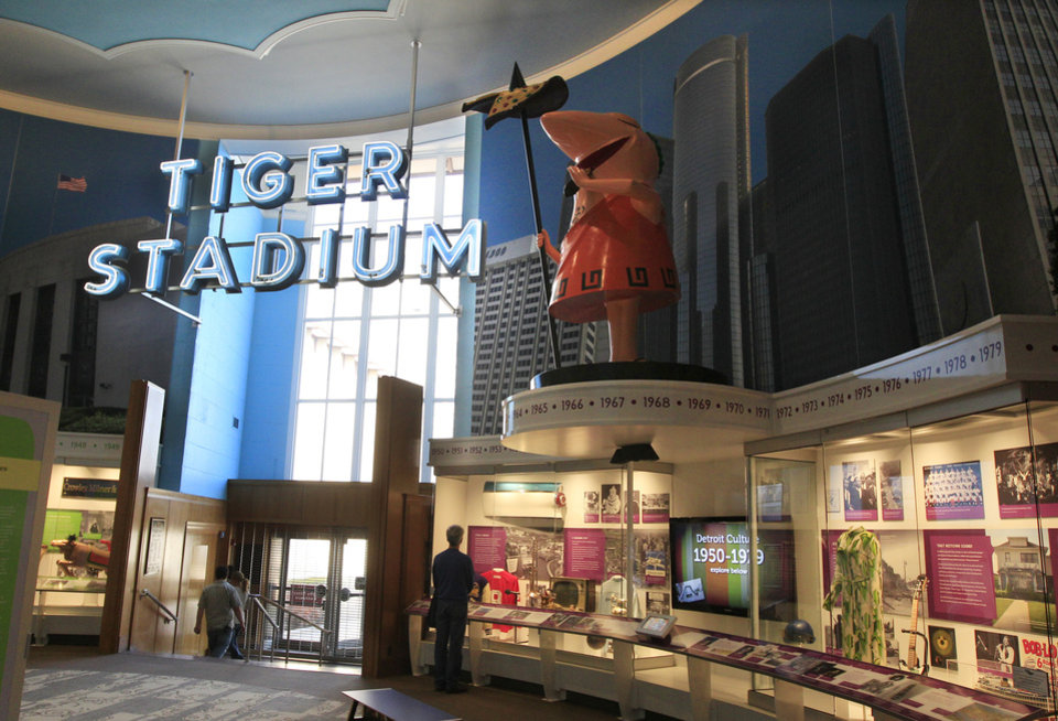 The old Tiger Stadium marquee is displayed at the Detroit Historical Museum in Detroit, Wednesday, Nov. 21, 2012. The museum is reopening six months after the institution in the city�s cultural center closed up shop to undergo its first major renovation in a half-century. (AP Photo/Carlos Osorio)