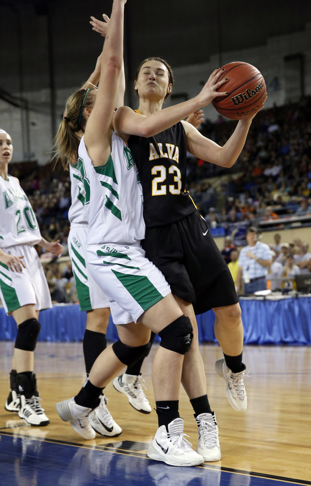 Photo - Alva's Jaden Hobbs shoots as the Adair Lady Warriors play the Alva Lady Goldbugs in the finals of the State Class 3A Girls Basketball Tournament at the Fairgrounds Arena on Saturday, March 15, 2014, in Oklahoma City, Okla. Photo by Steve Sisney, The Oklahoman
