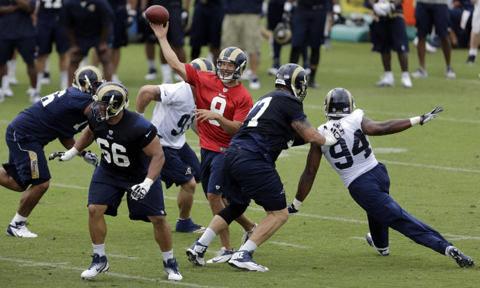 St. Louis Rams quarterback Sam Bradford (OU) throws during NFL football training camp Friday, July 26, 2013, in St. Louis. (AP Photo/Jeff Roberson)