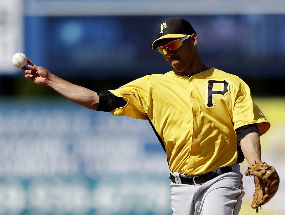 Pittsburgh Pirates shortstop Ivan De Jesus throws to first base to get out Minnesota Twins\' James Beresford off a hit in the ninth inning of a spring training exhibition baseball game, Sunday, March 10, 2013, in Fort Myers, Fla. Pittsburgh won 7-4. (AP Photo/David Goldman)