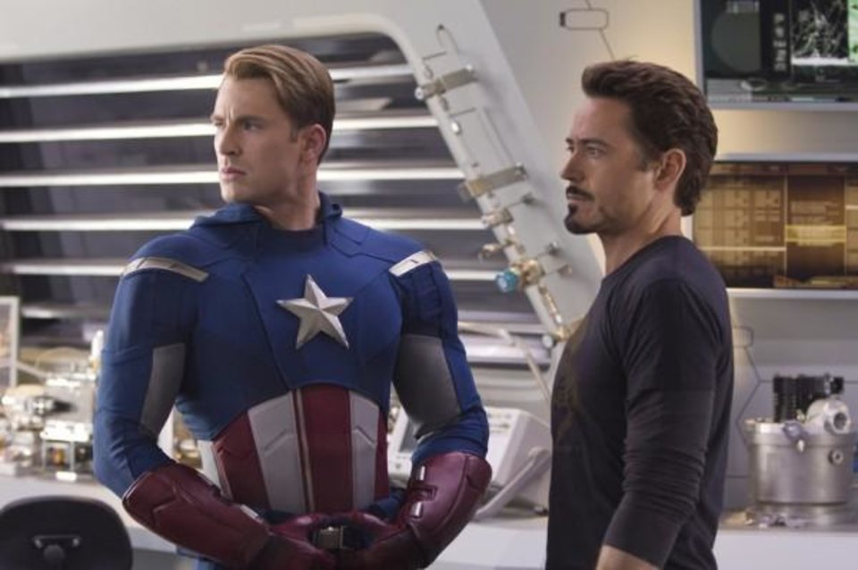"Photo -  Chris Evans and Robert Downey Jr in ""The Avengers"""