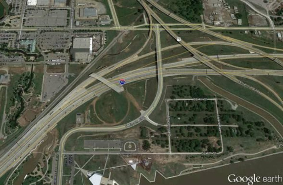 This Google Earth overhead photo shows a future connection to Lincoln Boulevard from the future Oklahoma City Boulevard. <strong> - Google Earth</strong>