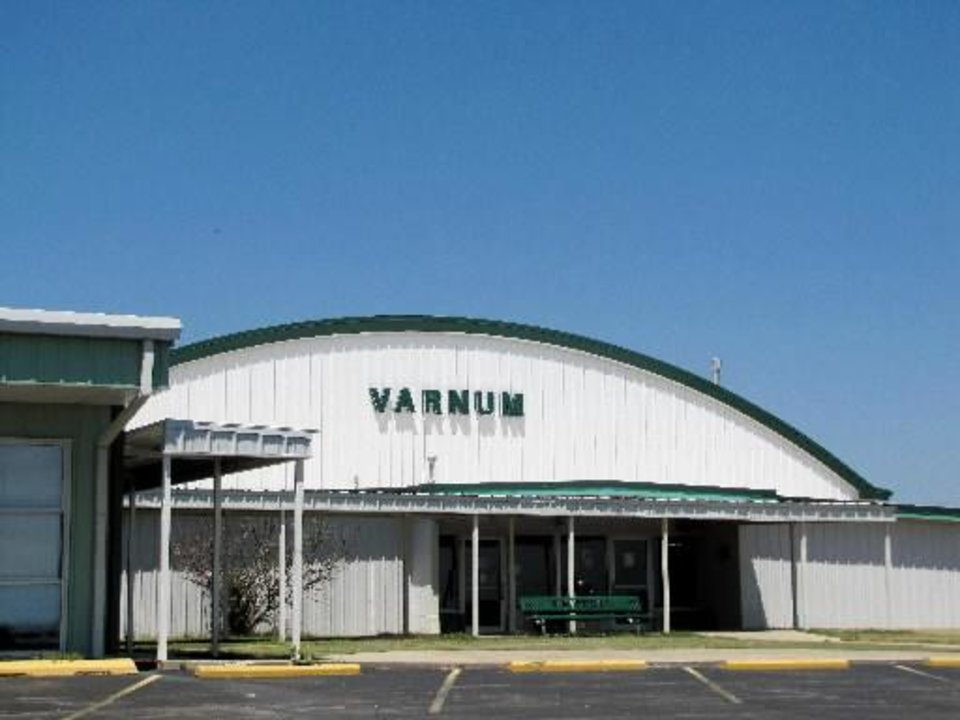 The gymnasium at Varnum High School. Varnum school district is one of 10 school districts in Seminole County, which is about 60 miles east of Oklahoma City and has a district population of 298 students. Photo by Sarah Boswell, The Oklahoman