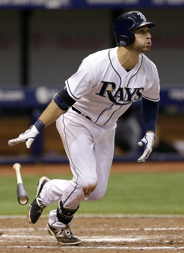 Photo - Tampa Bay Rays' Kevin Kiermaier flips his bat after hitting a home run off Miami Marlins starting pitcher Jacob Turner during the fifth inning of an interleague baseball game Thursday, June 5, 2014, in St. Petersburg, Fla. (AP Photo/Chris O'Meara)