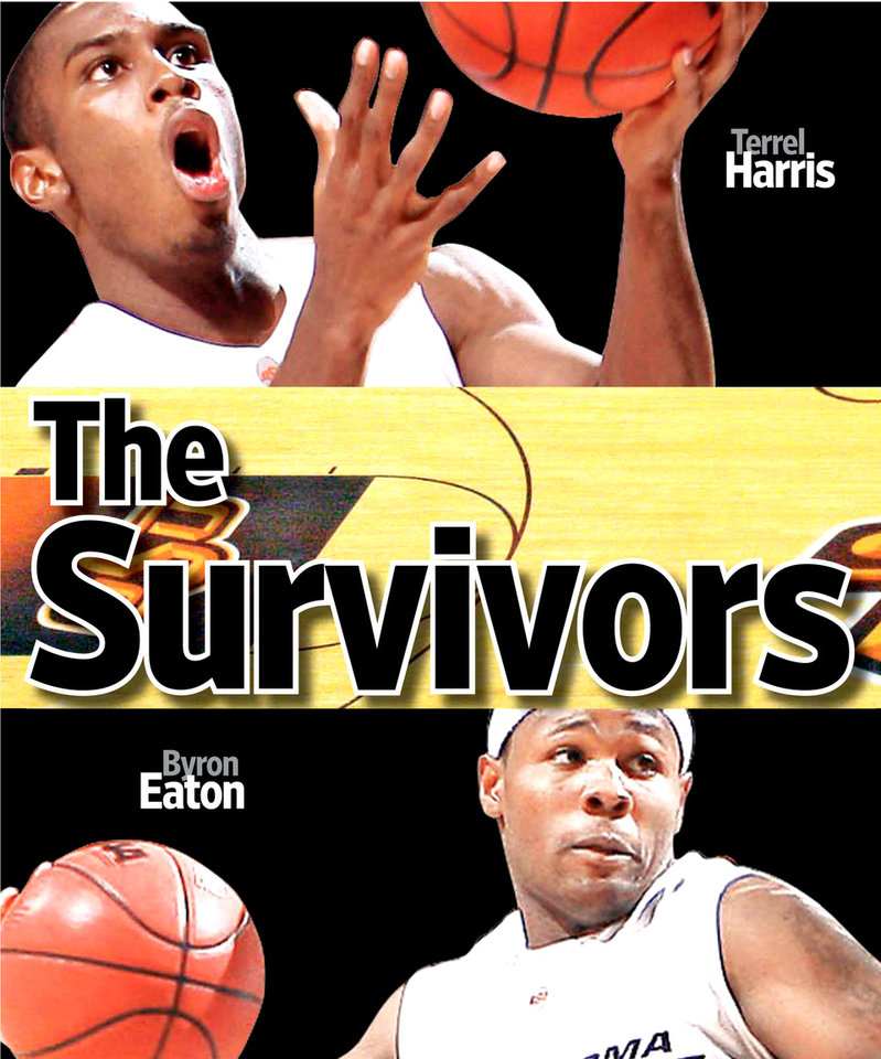 Photo - The Survivors GRAPHIC with photos: 1) OSU's Terrel Harris (1) shoots a layup in front of Savannah State's Arnold Louis (42) during the second half of the men's college basketball game between Oklahoma State University and Savannah State Tuesday, Jan. 6, 2009, at Gallagher-Iba Arena in Stillwater, Okla. PHOTO BY SARAH PHIPPS, THE OKLAHOMAN 2) OKLAHOMA STATE UNIVERSITY, OSU, COLLEGE BASKETBALL, OVERVIEW: Eddie Sutton Court on Tuesday, April 1, 2008, in Stillwater, Okla.  PHOTO BY CHRIS LANDSBERGER 3) EXHIBITION / PRESEASON: Oklahoma State's Byron Eaton (00) tries to get past Langston's De'Andre Bryant (13) during the second half of an NCAA men's college basketball game in Stillwater, Okla. Saturday, Nov. 8, 2008. OSU defeated Langston, 113-65. PHOTO BY SARAH PHIPPS, THE OKLAHOMAN