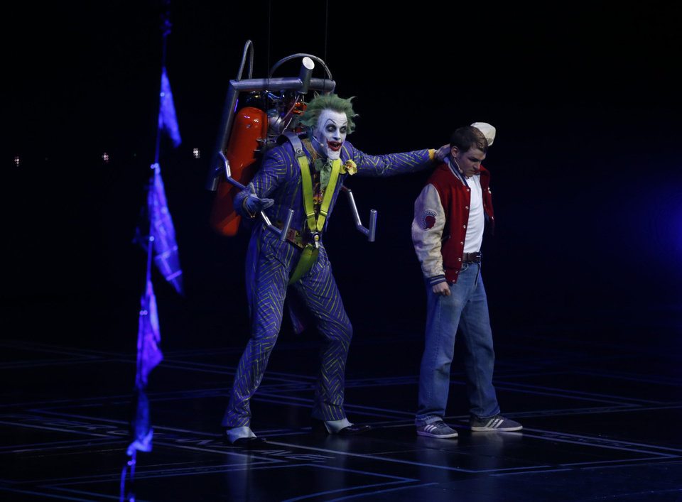 Mark Frost as The Joker at the L.A. Batman Live Premiere on Thursday Sept. 27, 2012, at STAPLES Center in Los Angeles. (Photo by Todd Williamson/Invision for Warner Bros./AP Images)