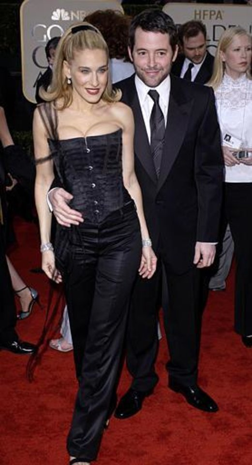"Sarah Jessica Parker, nominated for best performance by an actress in a television series/musical or comedy for her work in ""Sex and the City,"" arrives with her  husband and actor Matthew Broderick for the 60th Annual Golden Globe Awards, in Beverly Hills, Calif., Sunday, Jan. 19, 2003. (AP Photo/Kim D. Johnson)"