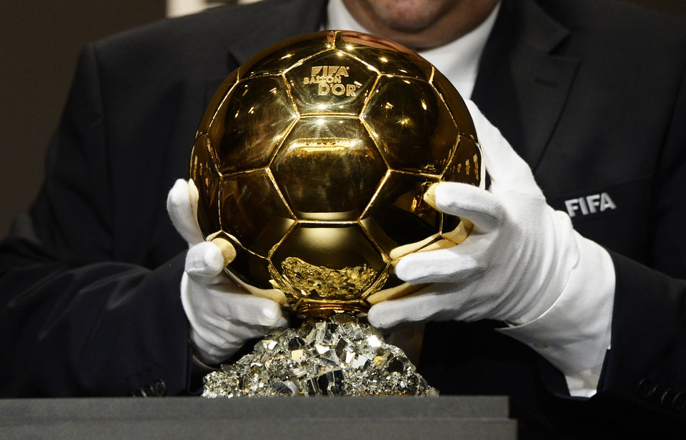 Photo - The Ballon d'Or trophy for  best soccer player of the year is presented at the FIFA Ballon d'Or awarding ceremony in Zurich, Switzerland, Monday, Jan. 13, 2014. (AP Photo/Keystone,Steffen Schmidt)