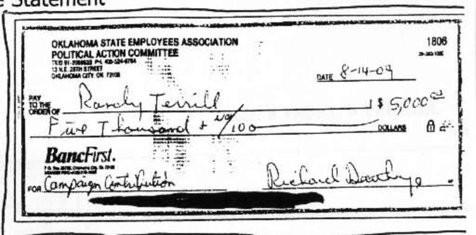 Photo - Oklahoma State Employees Association Political Action Committee check to  Randy  Terrill for $5,000.