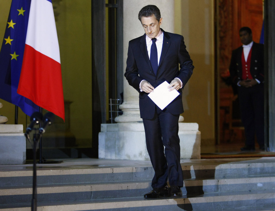 "French President Nicolas Sarkozy arrives to deliver a speech to the media at the Elysee Palace, in Paris, Tuesday, Nov. 1, 2011. Sarkozy said Tuesday the hard-fought European bailout plan for Greece is the ""only way possible"" to resolve that nation's debt crisis. (AP Photo/Thibault Camus) ORG XMIT: XTC101"