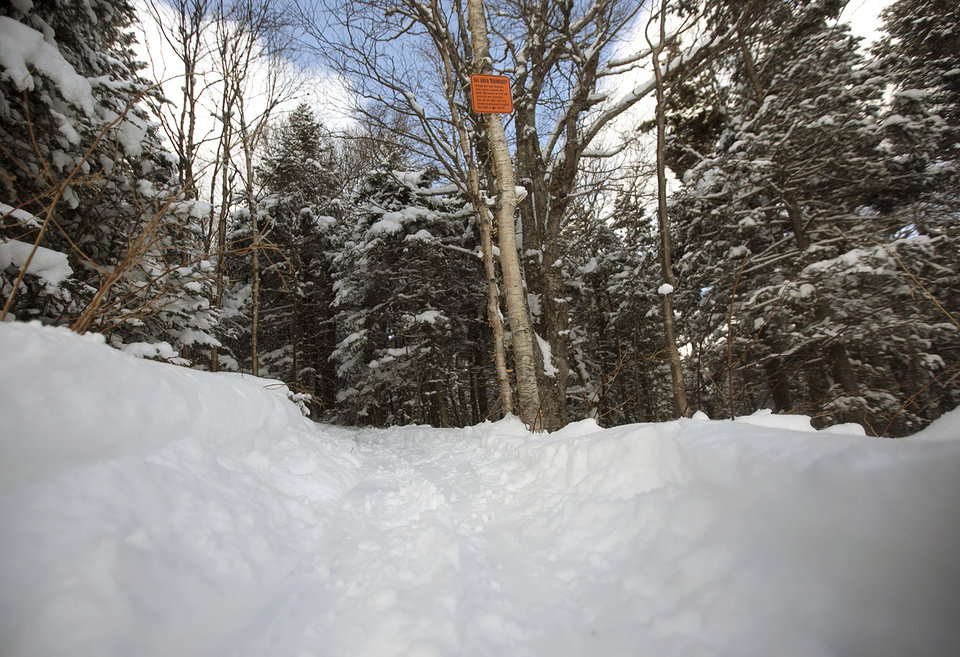Photo - In this Feb. 11, 2014 photo rprovided by Killington Resort, a sign posted on a tree warns skiers of the ski boundary at the resort in Killington, Vt. As part of an effort to keep skiers in bounds and avoid expensive rescue operations that can involve dozens of people, Killington opened 745 acres of terrain designed to give skiers a safer back country experience. The 745-acre Natural Area on Killington peak allows the skiers and riders to get the back-country experience in the ungroomed areas between the trails, but when skiers and riders head downhill they will end up back at the base lodges.  (AP Photo/Killington Resort, Chandler Burgess)