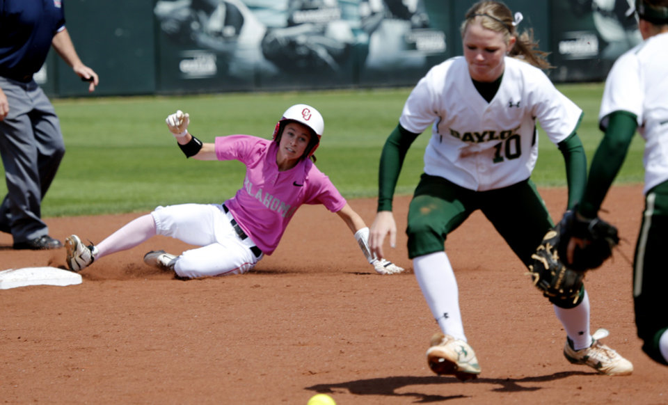 Brianna Turang slides to second on a ball hit close to Baylor's Jordan Strickland as the University of Oklahoma (OU) Sooners play the Baylor Bears in NCAA college softball at Marita Hines Field on Saturday, April 6, 2013  in Norman, Okla. Photo by Steve Sisney, The Oklahoman