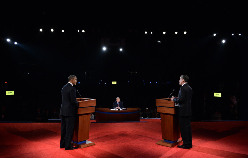 President Barack Obama and Republican presidential nominee Mitt Romney participate in the first presidential debate at the University of Denver, Wednesday, Oct. 3, 2012, in Denver. (AP Photo/Pool-Michael Reynolds)