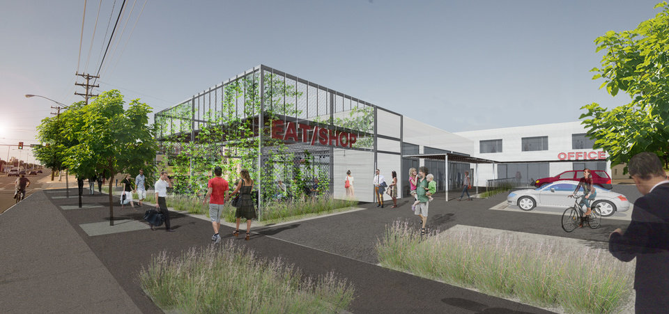 Photo -  Plans for redevelopment of a former B.F. Goodrich tire shop at NW 6 and Classen are shown in this rendering. Butzer Gardner Architects