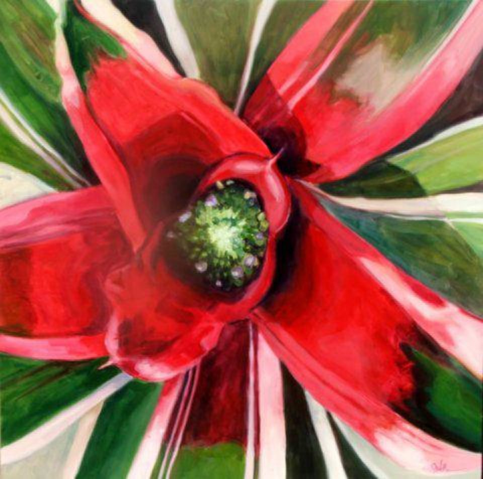 �Bromeliad 3 (Large Red),� an acrylic on panel by John Wolfe.