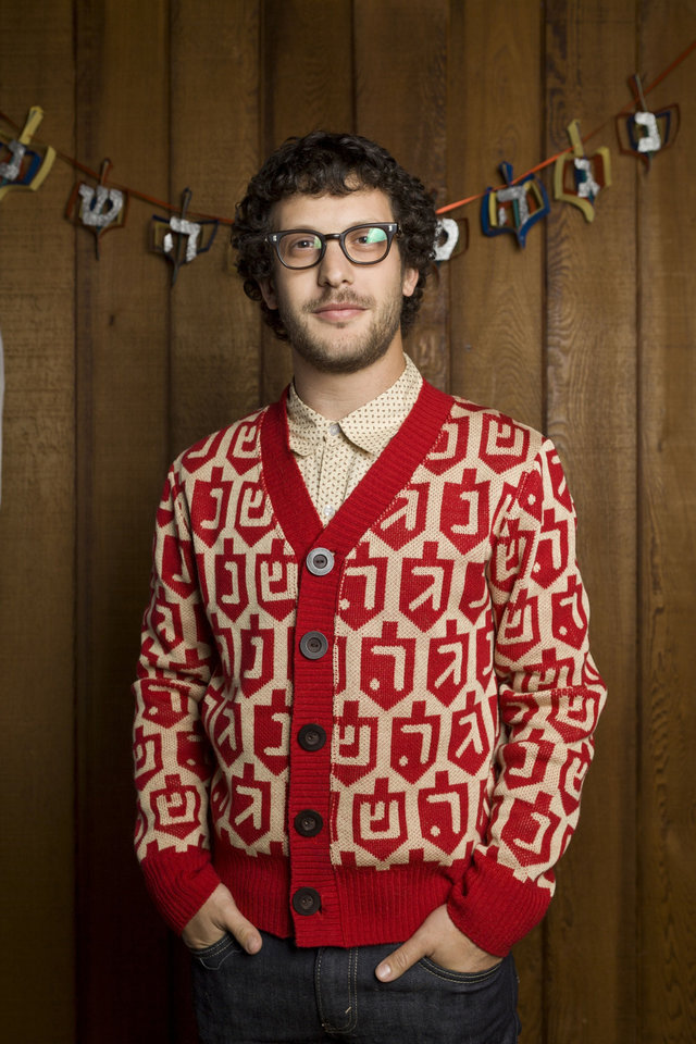 Photo - The Spinmaster Chanukah sweater is sold at www.geltfiend.com.