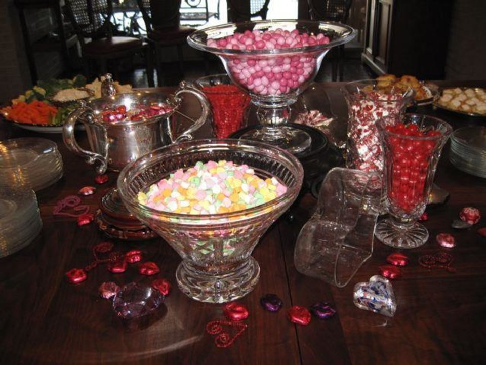 FRIENDS CELEBRATE JANUARY....January birthday women met in the home  of Ranell Brown. Bowls of candy were sweet treats. (Photo by Helen  Ford Wallace).