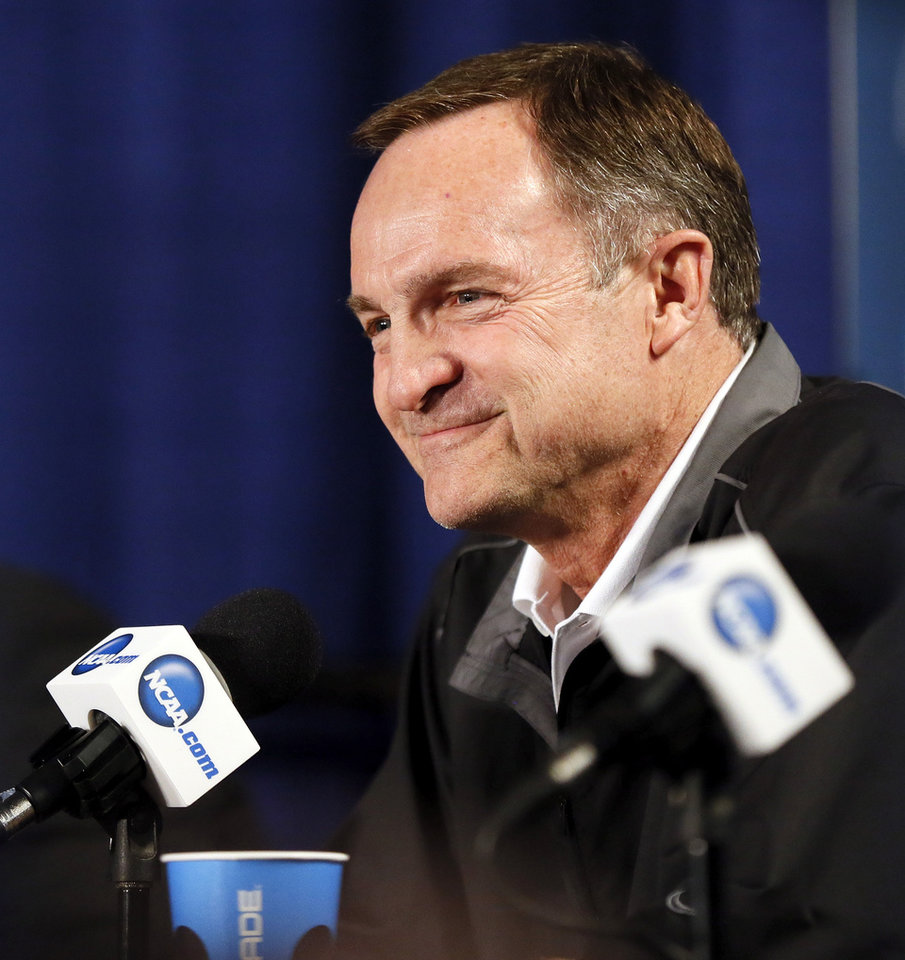 Oklahoma coach Lon Kruger smiles as he speaks to the media during the practice and press conference day for the second round of the NCAA men\'s college basketball tournament at the Wells Fargo Center in Philadelphia, Thursday, March 21, 2013. OU will play San Diego State in the second round on Friday. Photo by Nate Billings, The Oklahoman
