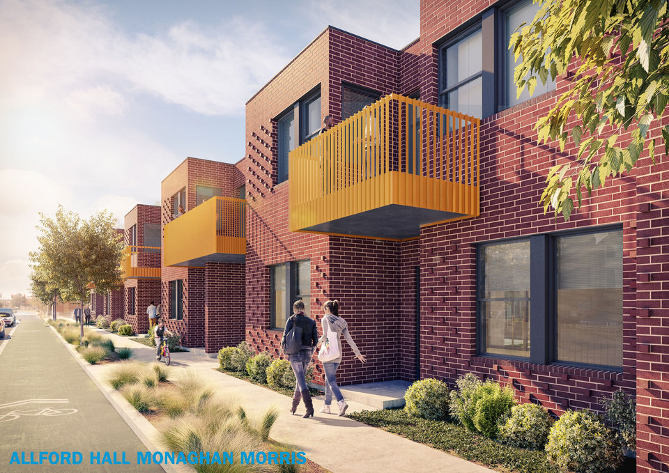 Photo -  Eight townhouses will be built as part of the Bower at Lee and each will include an enclosed backyard and parking in the rear. [Rendering by Allford Hall Monagham Morris]