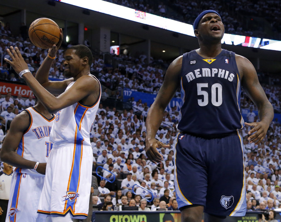 Photo - Memphis' Zach Randolph (50) reacts beside Oklahoma City's Kevin Durant (35) during Game 5 in the second round of the NBA playoffs between the Oklahoma City Thunder and the Memphis Grizzlies at Chesapeake Energy Arena in Oklahoma City, Wednesday, May 15, 2013. Memphis won 88-84.  Photo by Bryan Terry, The Oklahoman