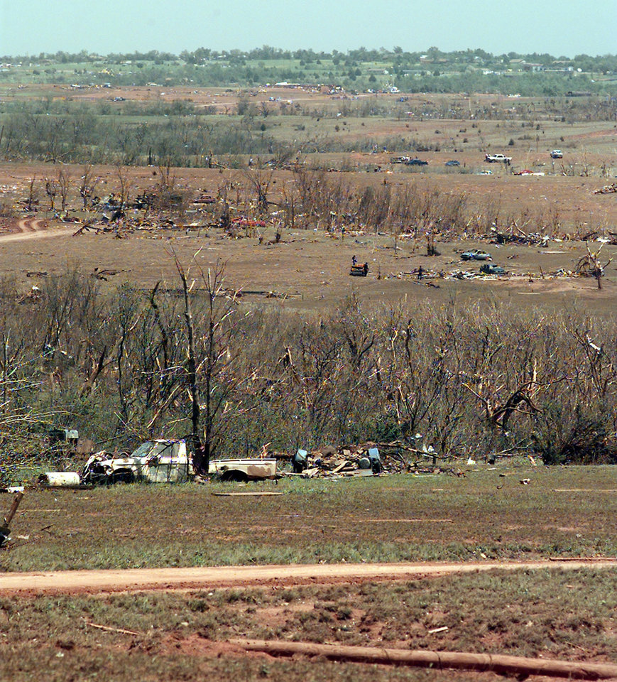 MAY 3, 1999 TORNADO: Tornado damage: Path of the tornado through Bridge Creek from the west edge looking north east.