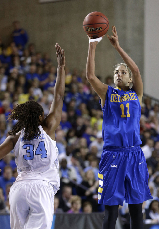 Photo - Delaware guard/forward Elena Delle Donne, right, shoots over North Carolina forward Xylina McDaniel during the second half of a second-round game in the women's NCAA college basketball tournament in Newark, Del., Tuesday, March 26, 2013. Delle Donne contributed a game-high 33 points to Delaware's 78-69 win. (AP Photo/Patrick Semansky)  Patrick Semansky