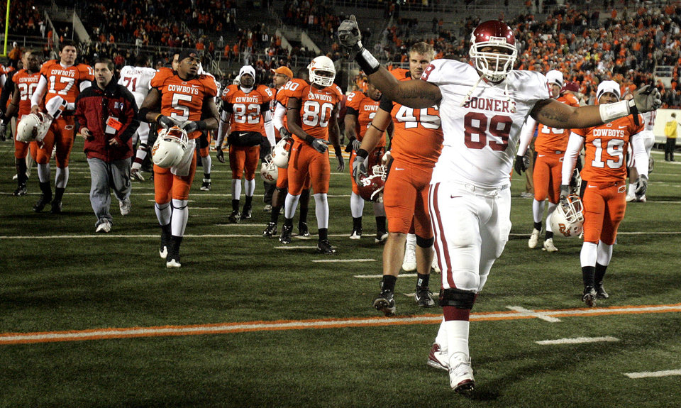 Oklahoma's Cordero Moore (89) after the college football game between the University of Oklahoma Sooners (OU) and Oklahoma State University Cowboys (OSU) at Boone Pickens Stadium on Saturday, Nov. 29, 2008, in Stillwater, Okla. STAFF PHOTO BY SARAH PHIPPS