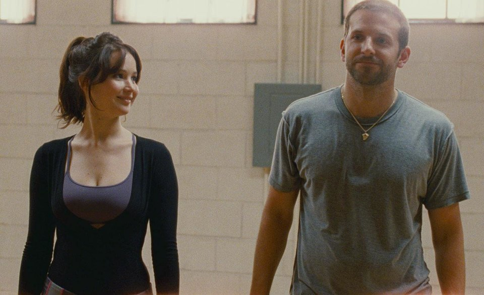 Jennifer Lawrence and Bradley Cooper star in �Silver Linings Playbook.�  The Weinstein Company photo
