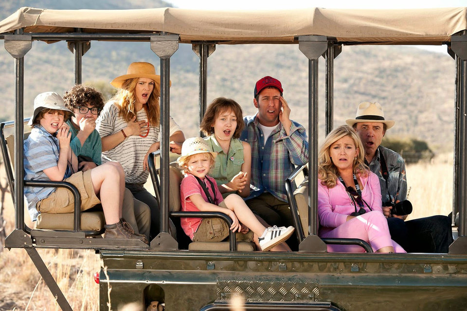 "Photo -  Drew Barrymore, second from left, Adam Sandler, center, and Kevin Nealon, right, in a scene from the motion picture ""Blended."" David Bloomer, Warner Bros. Pictures    David Bloomer"