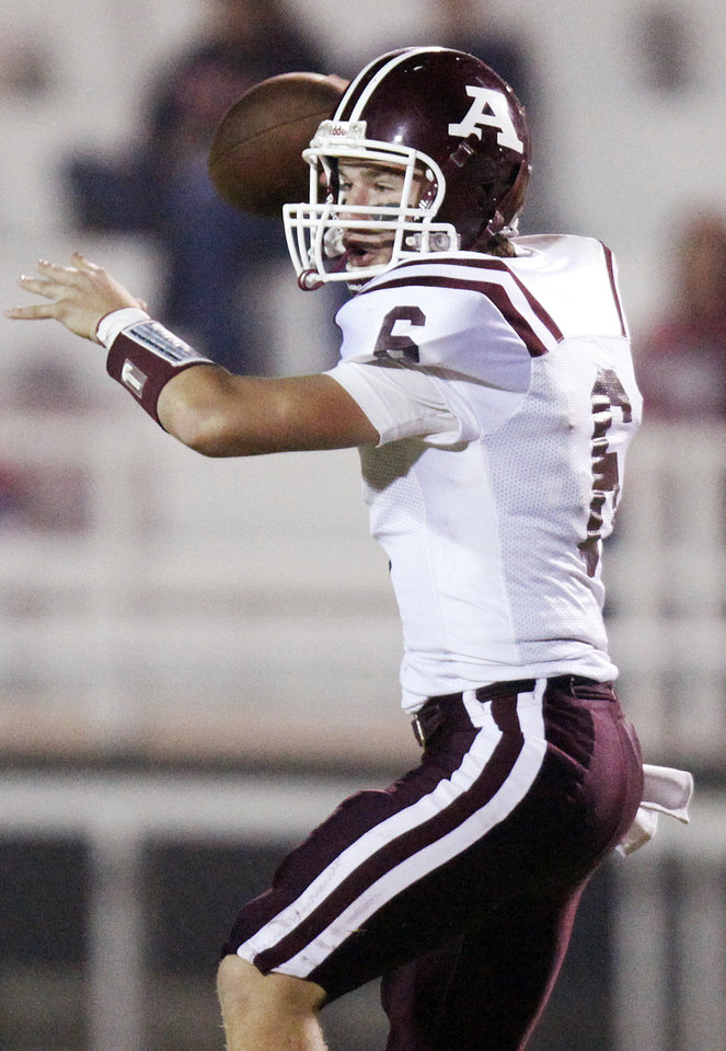 Wyatt Robson (6) passes for Ada during a high school football game between Ada and U.S. Grant at C.B. Speegle Stadium in Oklahoma City, Friday, Sept. 16, 2011. Photo by Nate Billings, The Oklahoman  ORG XMIT: KOD