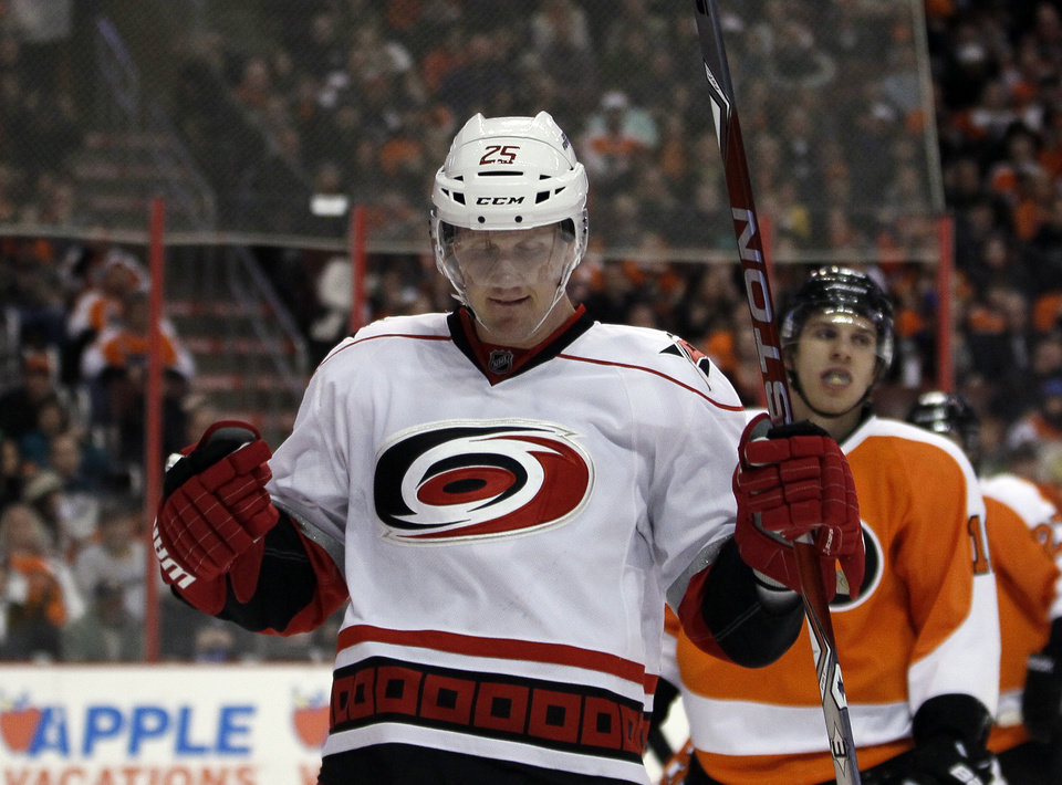 Carolina Hurricanes' Joni Pitkanen celebrates his goal in the first period of an NHL hockey game against the Philadelphia Flyers, Saturday, Feb. 2, 2013, in Philadelphia. (AP Photo/Tom Mihalek)