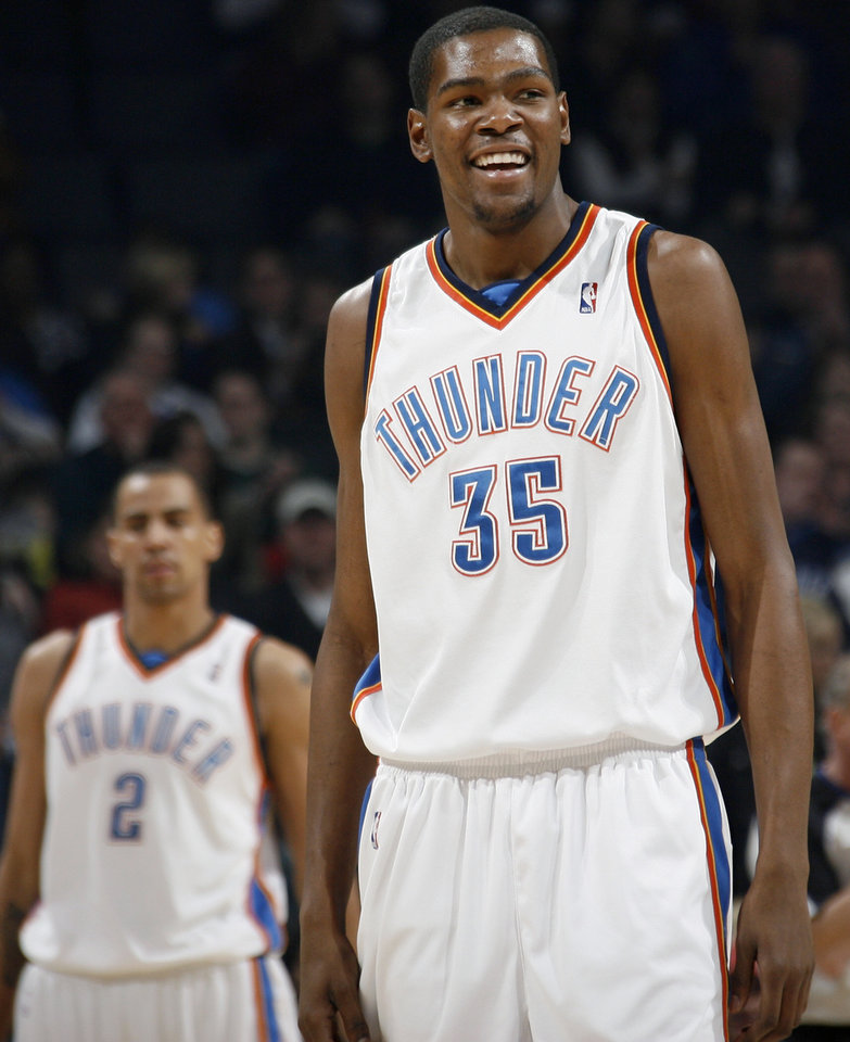 Photo - Oklahoma City's Kevin Durant smiles during the NBA basketball game between the Oklahoma City Thunder and the Minnesota Timberwolves, at the Ford Center in Oklahoma City, Friday, Feb. 26, 2010.  Photo by Bryan Terry, The Oklahoman ORG XMIT: KOD