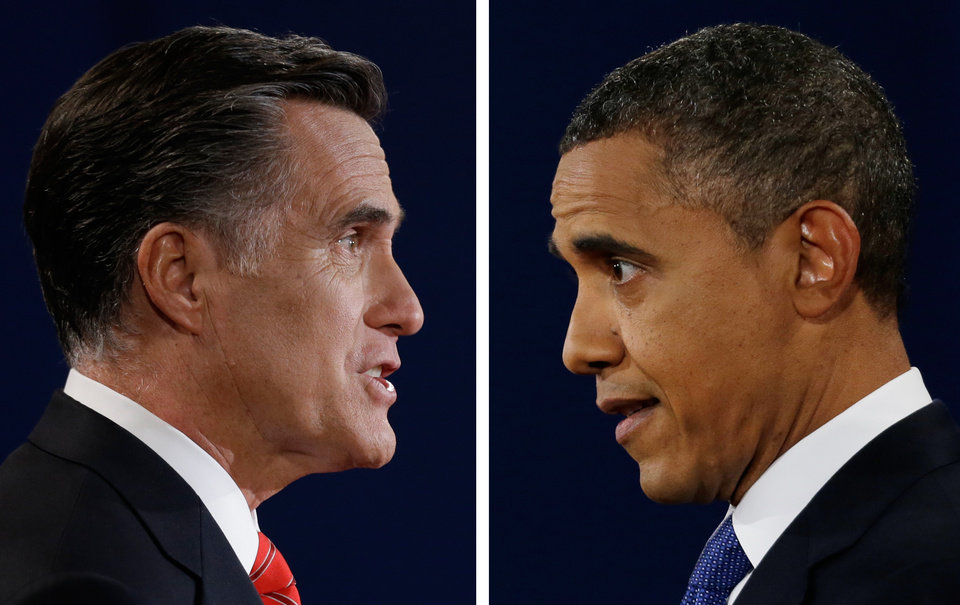 FILE - In this Oct. 3, 2012, file photo combo, Republican presidential nominee Mitt Romney and President Barack Obama speak during their first presidential debate at the University of Denver, Colo. In a September Pew Research Center poll 48 percent of registered voters said Obama was more �honest and truthful,� to 34 percent who felt Romney was. And a CBS News/New York Times survey earlier in September asked separately whether each candidate was honest and trustworthy: 58 percent of likely voters described Obama that way while 53 percent said that of Romney. (AP Photo/David Goldman/Eric Gay)