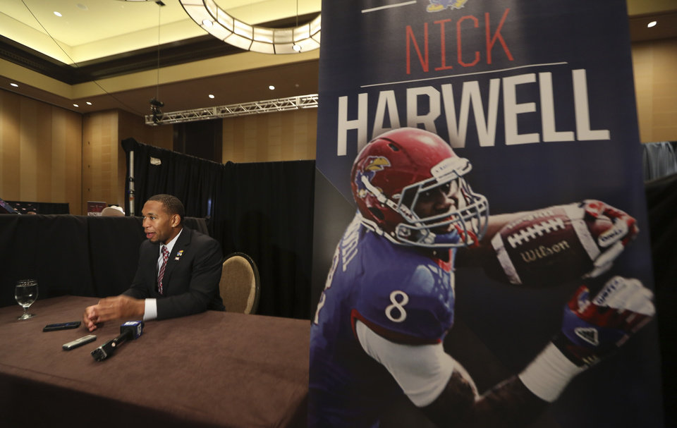 Photo - Kansas wide receiver Nick Harwell speaks to a reporter during the NCAA college Big 12 Conference football media days in Dallas, Monday, July 21, 2014. (AP Photo/LM Otero)