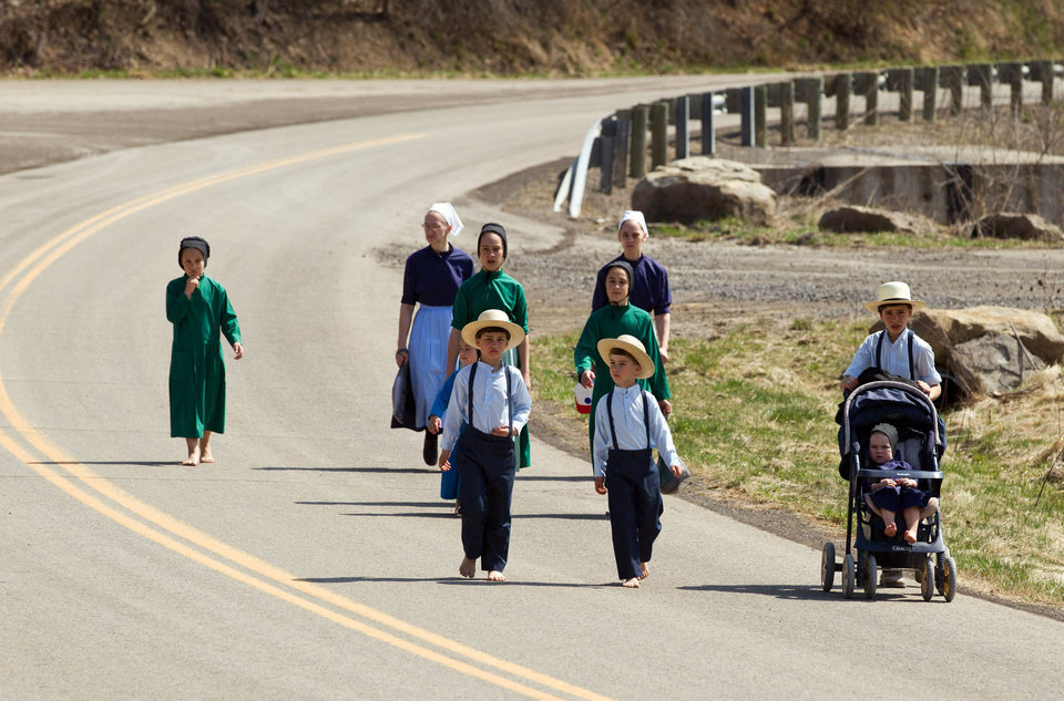 Photo - Wilma Mullet and her family walk to the school house for the final day of class on Tuesday, April 9, 2013 in Bergholz, Ohio.  Mullet and other Amish families gathered for a farewell celebration before members of the sect depart for prison following convictions in a beard cutting scandal. (AP Photo/Scott R. Galvin)