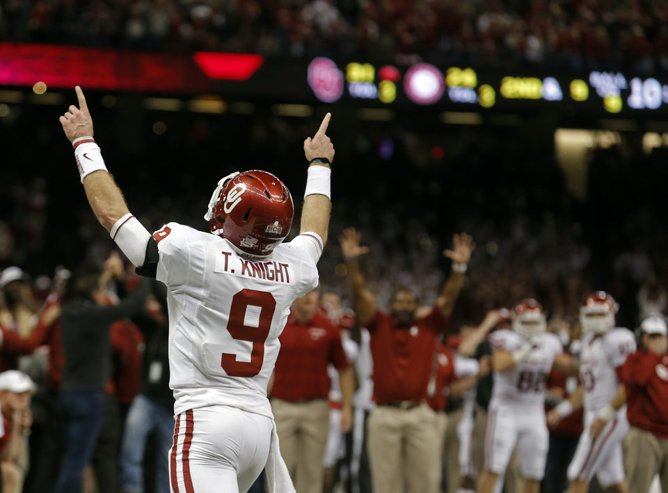 Oklahoma\'s Trevor Knight (9) celebrates a touchdown during the NCAA football BCS Sugar Bowl game between the University of Oklahoma Sooners (OU) and the University of Alabama Crimson Tide (UA) at the Superdome in New Orleans, La., Thursday, Jan. 2, 2014. .Photo by Sarah Phipps, The Oklahoman