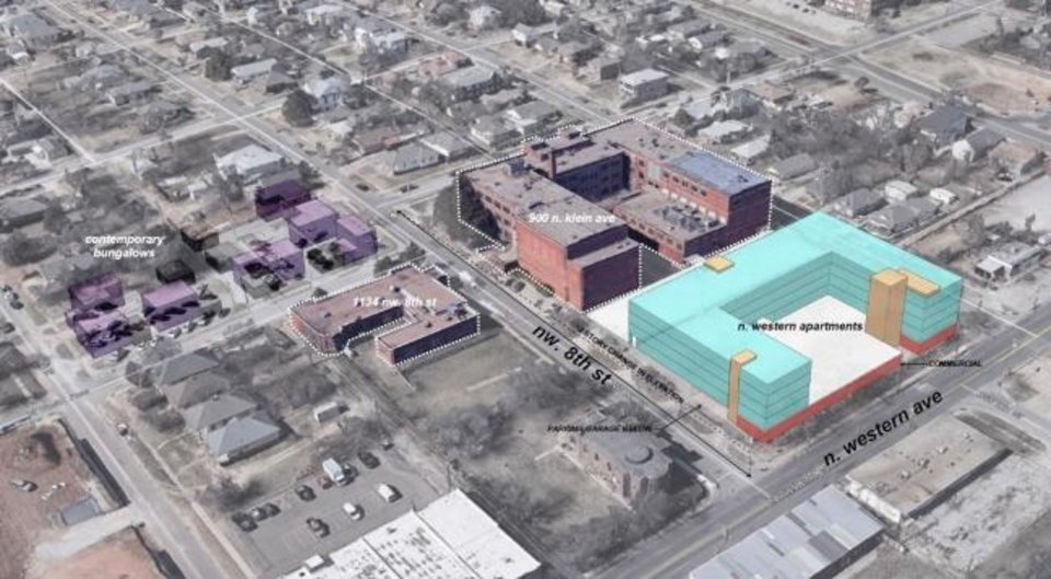 Photo -  A group led by preservationist Marva Ellard proposes restoring each historic building on the former Oklahoma City Public Schools headquarters into housing with more housing to built on surface parking lots on the campus. [PROVIDED]
