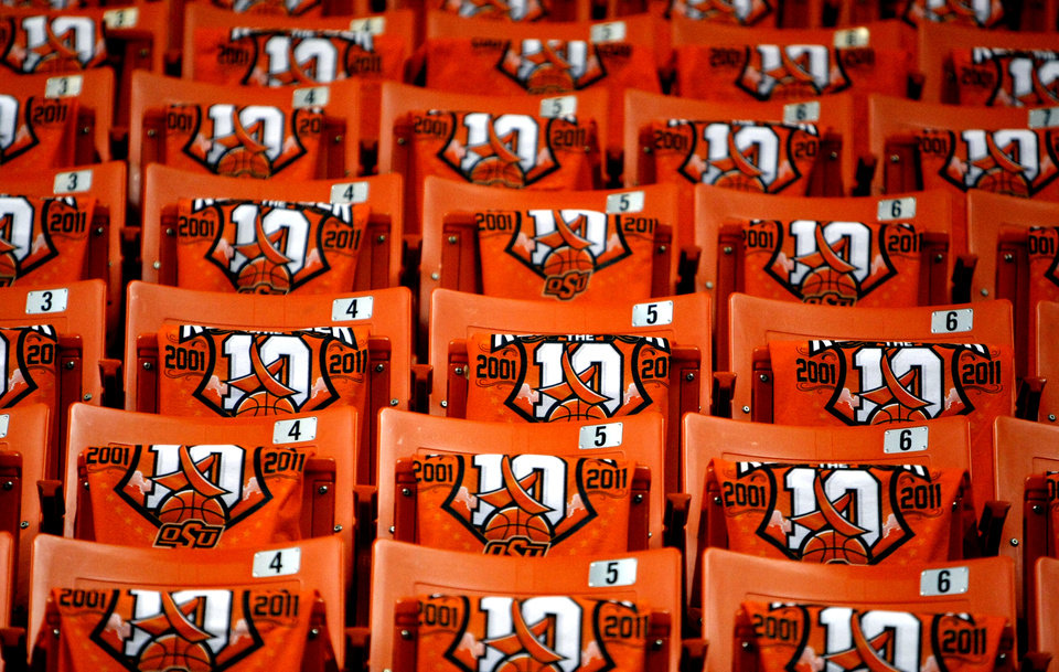 """Remember the 10""  T-shirts sit on the seats of Gallagher-Iba Arena before the basketball game between Oklahoma State and Texas, Wednesday, Jan. 26, 2011, Stillwater, Okla. Photo by Sarah Phipps, The Oklahoman"