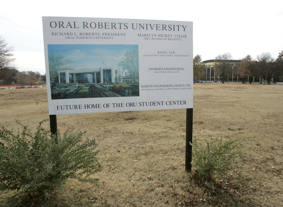 Photo - A sign that promotes the building of the new student center at Oral Roberts University in Tulsa, Okla. Nov. 28, 2007.  BY STEVE GOOCH, THE OKLAHOMAN.